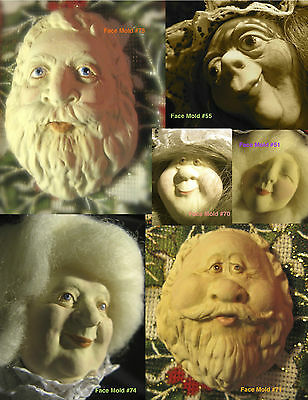 YOUR CHOICE FG Silicone Doll Face Cab Casting Molds of Santa, Wizard, Mrs. Claus
