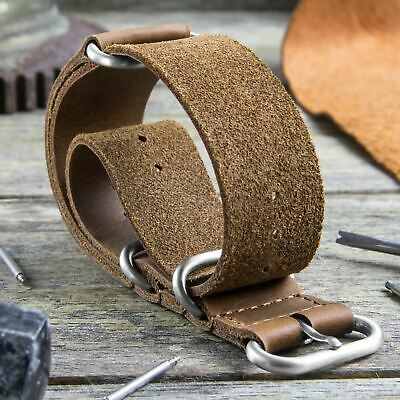 ZULUDIVER® Watch Strap in 'Crazy Horse' Oiled Pull-Up Genuine Leather 20, 22mm
