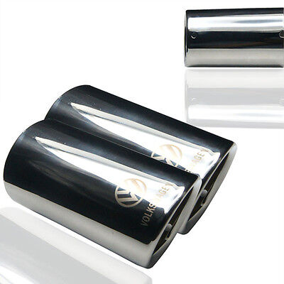 2pcs Chrome Exhaust Tail Pipe Tip Muffler End Trim For VW Scirocco Jetta MK6