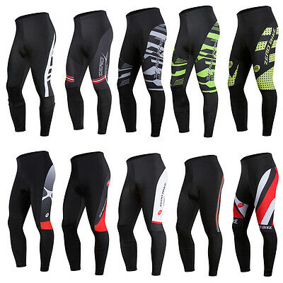 Men's Sports Bike Tights Cycling Riding 3D GEL Padded Long Pants Bicycle Wear