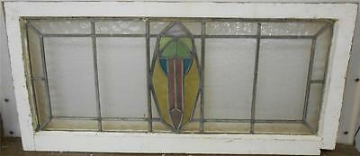 "OLD ENGLISH LEADED STAINED GLASS WINDOW TRANSOM Abstract design 35"" x 16.5"""