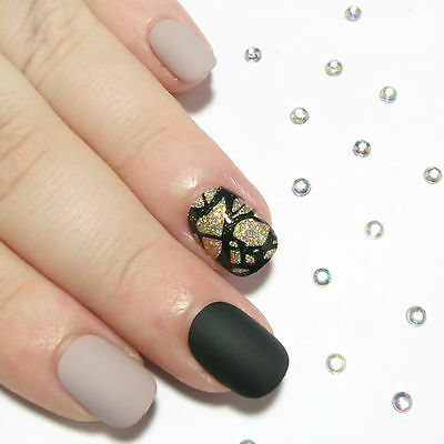 Petite Nails Matte Nude Black Gold Hand Painted Full False Nails - Glue On Nails