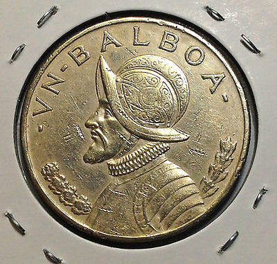 Panama 1934 One Balboa Much Better Grade Beautiful Silver Coin