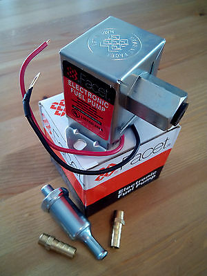 FACET 12 VOLT ELECTRIC FUEL PUMP. 4-7 psi. FITTINGS+FILTER. 24 Mth WARRANTY! WVO