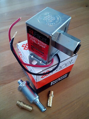 FACET 12V ELECTRONIC FUEL PUMP. 7-4 psi. FITTINGS + FILTER. 2 YEAR WARRANTY! WVO