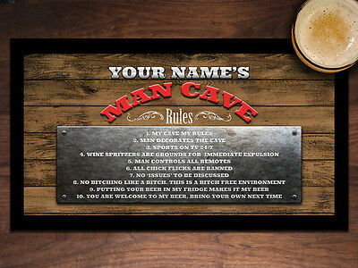 Personalised with your name Customised BAR RULES BEER MAT BAR RUNNER Man Cave