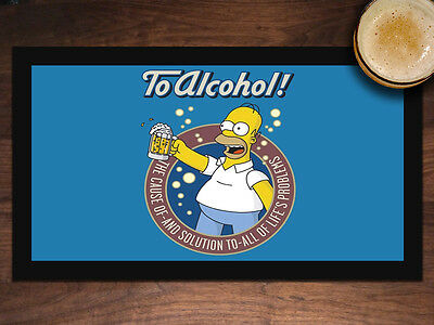 Alcohol is the Cause and Solution BEER BAR RULES BEER MAT BAR RUNNER Man Cave