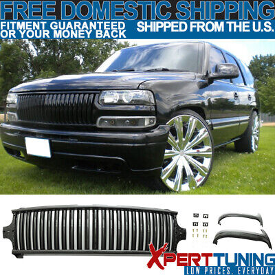 Fit For 99-02 Silverado 00-06 Suburban Tahoe Vertical Style Grill Grille Black