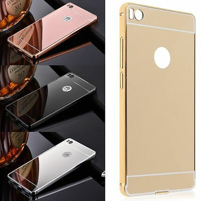 Luxury Aluminum Ultra-thin Mirror Metal Case Cover for Huawei + Tempered Glass