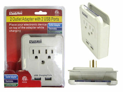 2 AC Outlet Wall Mount Tap Adapter with Dual 2 USB Charging Port & Phone Holder