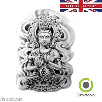 Large Waterproof 3D Buddha Temporary Tattoo Sticker Art