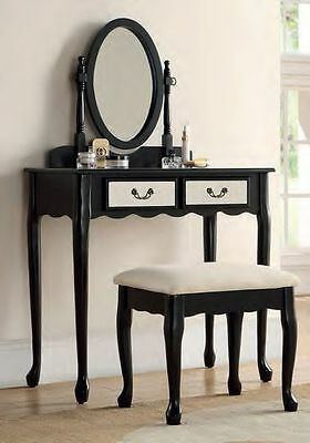Black Classic Mirrored Dressing Table Set Padded Seat & Mirror Drawers Quality