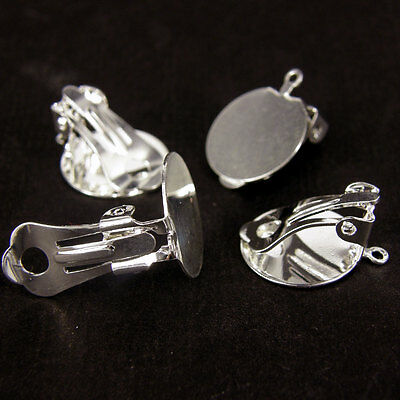 Silver Plated Clip On Earrings Blanks With 15mm Flat Pads  or RUBBER COMFORT