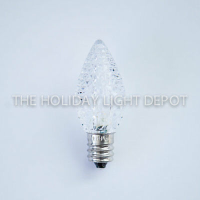 25 C7 Pure White LED Christmas Light Bulb Faceted LED Retro Fit Dimmable
