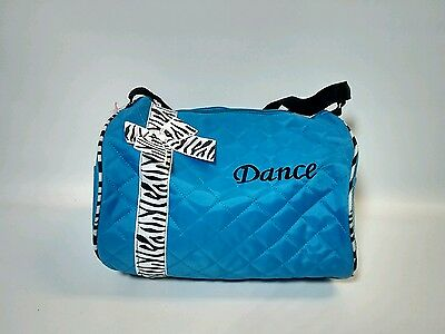 Dance Bag Girls  - Blue Quilted Zebra Duffle New