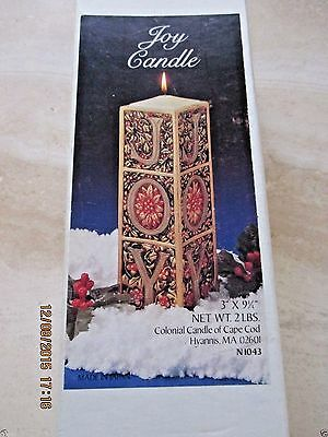 "Avon*joy Christmas Candle* 3"" X 9 1/4"" Colonial Candle Of Cape Cod*very Rare*nib"