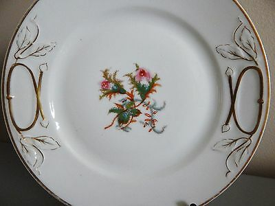 "2 Limoges Haviland Moss Rose Cake Plates 9 5/8"" Thin Gold Band (one w/rim chip)"