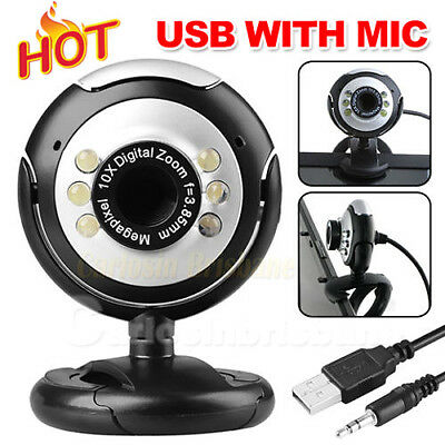 USB Webcam Camera+Mic 16 megapixel MP 6 LED Web Cam For Laptop PC Computer Skype