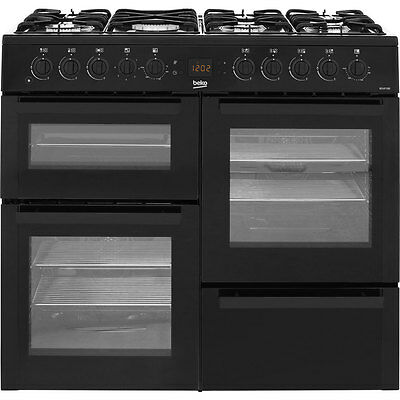 Beko BDVF100K 100cm 7 Burners Dual Fuel Range Cooker Black New