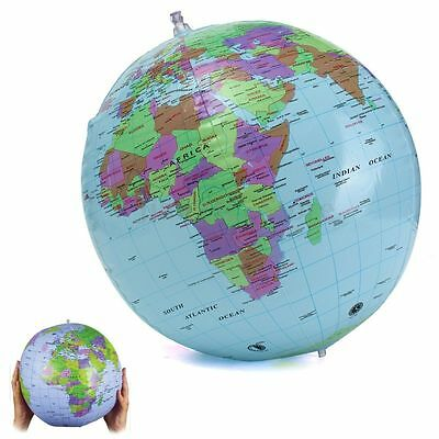 Inflatable World Earth Globe 40cm Atlas Map Beach Ball Geography Education Toy