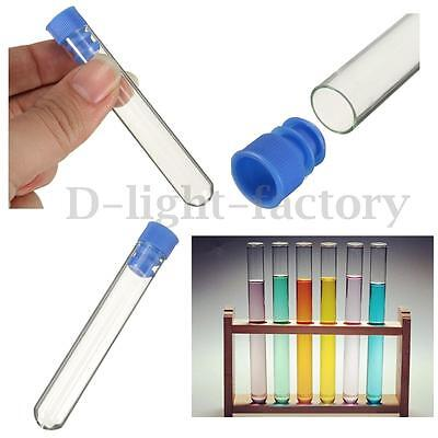10PCS 12mm x 70mm Pyrex Glass Test Tubes Vial Container With Push Caps