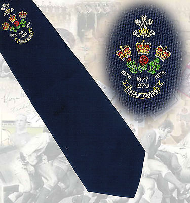 Wales Four Triple Crowns 76-77-78-79- navy RUGBY TIE