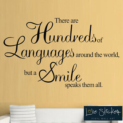 Languages Smiles Love Office Quote Wall Art Stickers Decals Vinyl Home Room Deco