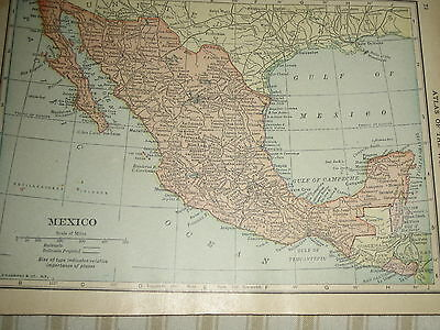 1909 Antique MAP MEXICO / WEST INDIES  106 Years Old