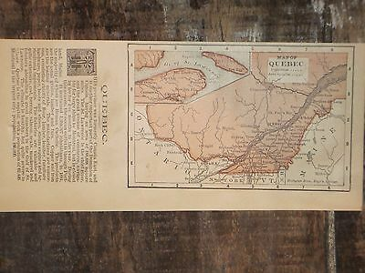 1893 Antique MAP QUEBEC / MEXICO  listing 28 States    FREE SHIPPING