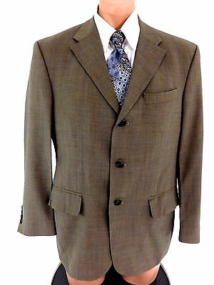 Nautica 100% Wool Muted Plaid Brown Blazer Suit Jacket Sport Coat Size 40 S