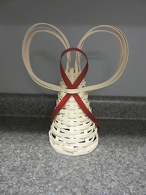 Longaberger Angel Christmas Tree Topper in White Washed & Bold Red New In Hand