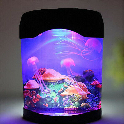 Colorful LED Jellyfish Tank Sea World Swimming Mood Lamp Night Light Gifts