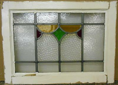 "OLD ENGLISH LEADED STAINED GLASS WINDOW Nice Geometric Design 22"" x 16.25"""