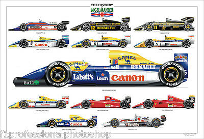Nigel mansell F1 history ltd ed.print signed/numbered by artist