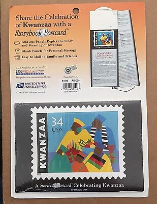 Kwanzaa Storybook Fold-out Postcard Celebrating Kwanzaa Rare 2001 USPS Item