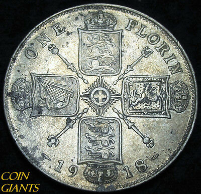 1918 One Florin High Grade Silver Coin UK Great Britain Early Date 1F AU Details