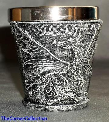 FANTASY WINGED DRAGON SHOT GLASS with STAINLESS STEEL INSERT
