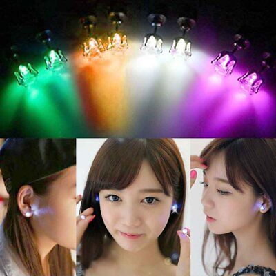 4 Pairs Christmas Light up Glowing LED Earrings Bling Ear Studs Party Xmas Decor