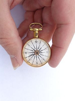 Rare English Georgian Circa 1800 Gilt Brass Enamel Dial Pocket Compass ! British