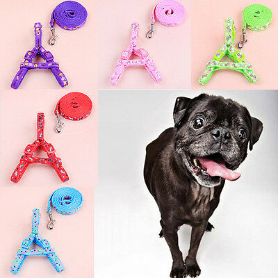 New Small Dog Pet Puppy Cat Adjustable Nylon Harness with Lead leash 6 Color's