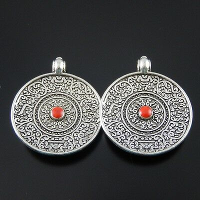 12X Antiqued Silver Round Dish Alloy Pendant Charms Jewelry Findings 50093