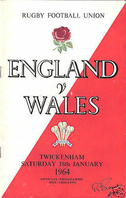 ENGLAND v WALES 1964 at TWICKENHAM RUGBY PROGRAMME