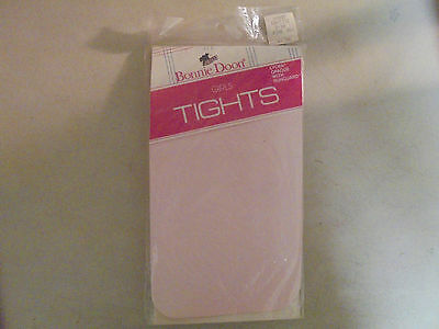 VINTAGE Girls Size 8-10 Pink Bonnie Door Tights Lycra Opaque with RUnguard