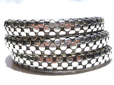 Womens John Hardy Dot Thick Sterling Silver Springy Coil Bangle Cuff Bracelet