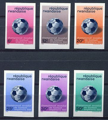 s4842) RWANDA 1966 MNH** World Cup Football - Coppa del Mondo Calcio 6v IMPERF