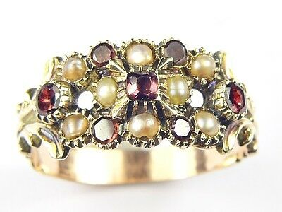 SUPERB ANTIQUE VICTORIAN ENGLISH ORNATE 9K GOLD GARNET PEARL RING c1880