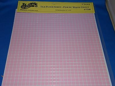 Dollhouse Pink with White Grout Tile Flooring HW7308 / New