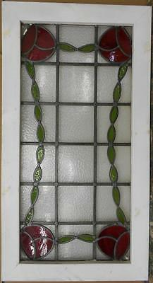 "LARGE OLD ENGLISH LEADED STAINED GLASS WINDOW Pretty Floral Border 20.5"" x 38"""