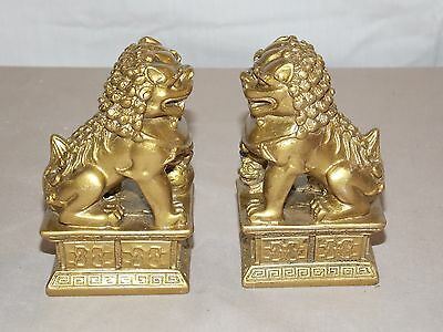 """New Pair (2) Chinese Gold Foo Dogs Imperial Lions Fung Shui Statue Figure 4"""""""