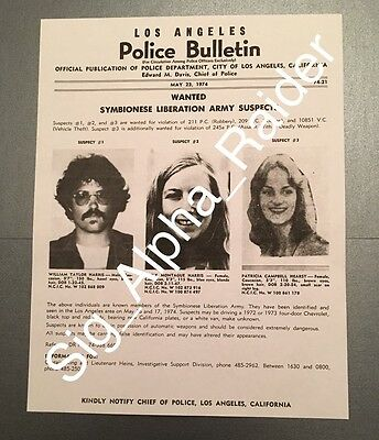 Los Angeles Police Department Wanted Poster Symbionese Liberation Army